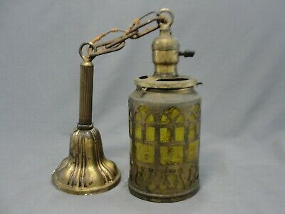 Antique Pierced Brass Pendant Porch Light Arts and Crafts Hubbell Fixture Socket