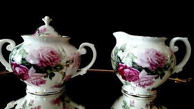 Grace's Teaware Sugar & Creamer Porcelain Roses See Matching Teapot & Cup/Saucer