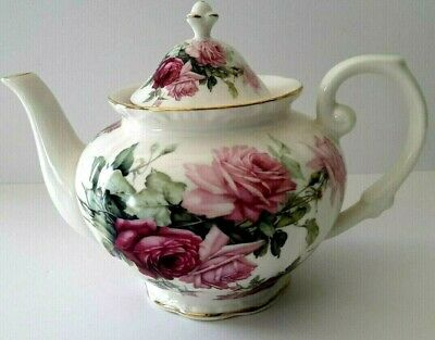 Grace's Teaware Porcelain Teapot Roses See Matching Sugar Creamer Cups & Saucers