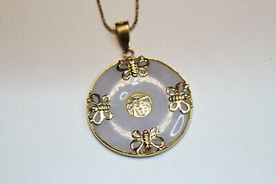 Viintage 14K Gold and Lavender Jade Pendant Necklace with Chain Marked 14K & 585