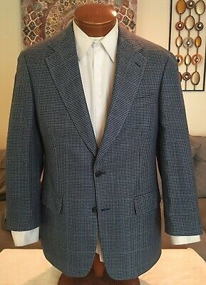 Brooks Brothers Mens 2 Btn Blue Houndstooth Silk Blazer Jacket Size 38 R MINT!