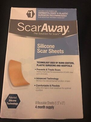 ScarAway Silicone Scar Sheets 8 reusable sheets 4 month supply Exp 01/23