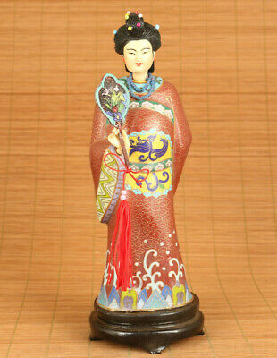 chinese old cloisonne big princess statue collectable