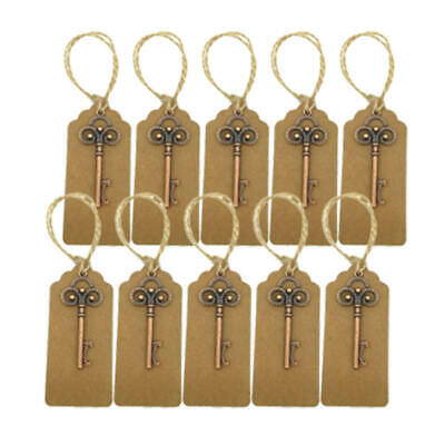 10x Vintage Metal Key Shaped Ring Keyring Keychain Party Bar Bottle Opener New