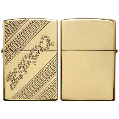 Zippo Coiled Lighter Gold Armor High Polish Antique Vintage Windproof Gift