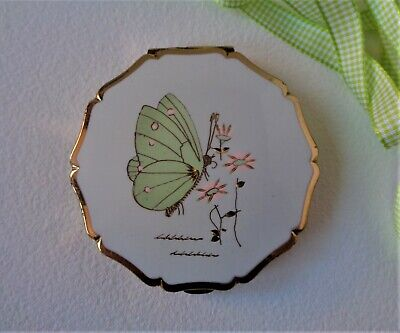 Vintage Stratton Ladies Princess Powder Compact with Butterfly painting