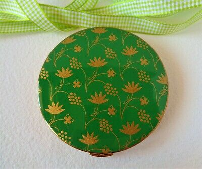 Vintage Coalport Ladies Powder Compact with lovely Green enamel and gold flowers