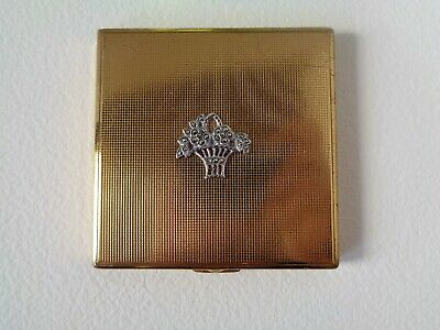 Vintage Ladies Gold coloured Powder Compact with Marcasite flower basket