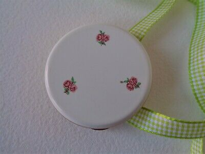 Small Vintage Kigu Ladies Powder Compact/Pot with lovely enamelled roses design