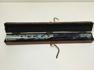 "Vintage Ceramic Flute Pottery Craft Clay Blue Marble with Case, 16"" Long"