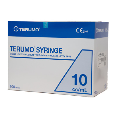 Terumo Syringe Luer Lock - Hypodermic Needle - Box/100 - 10 cc/mL