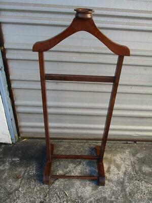 Vintage Retro Mens Clothes Hanger Valet Butler Rack Brown Room Tidy