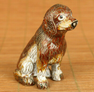 china Antiques old Cloisonne Handcarved lovely dog Statue pendant noble decorate