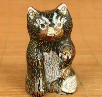 Asian old cloisonne hand painting fortune cat statue figure netsuke decoration