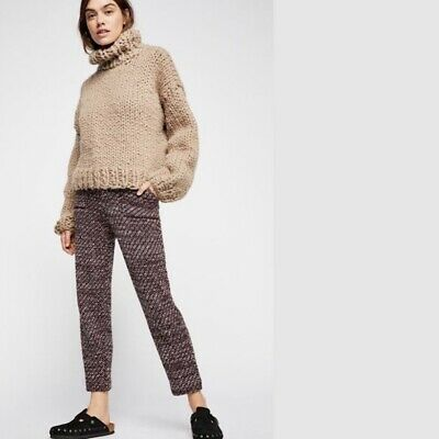 Free People Cozy Knit Trouser Pants Purple Red Medium M $148 OB902419 NWT New