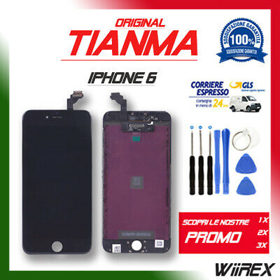 Lcd Display Vetro Per Apple Iphone 6 Nero Originale Tianma - Prezzo Da Ingrosso