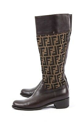 0bd284ad6 Rare Fendi Womens Zucca Brown Monogram Zuccissima Canvas Leather Knee Boots  38