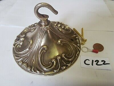ANTIQUE vintage CEILING ROSE 140mm huge FRENCH chandelier hook Cast brass c1920s