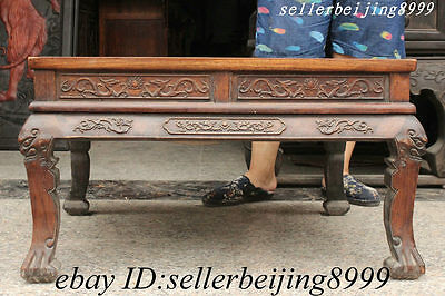 Old China Dynasty Palace Huali Wood Carve Dragon Beast Statue Throne Table Desk