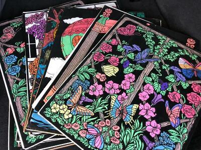 Vintage Lot of 15 Black Velvet Paint Marker by Numbers 16x20 1970s Psychedelic