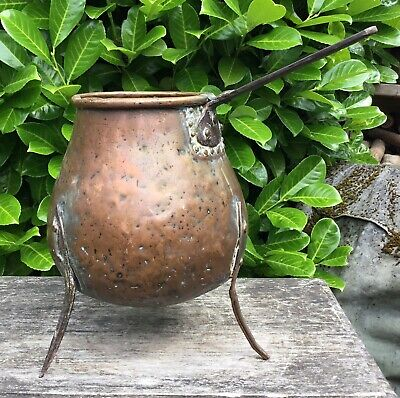 Large Old Antique Copper Coffee Pot Wrought Iron Legs Decorative Only Planter