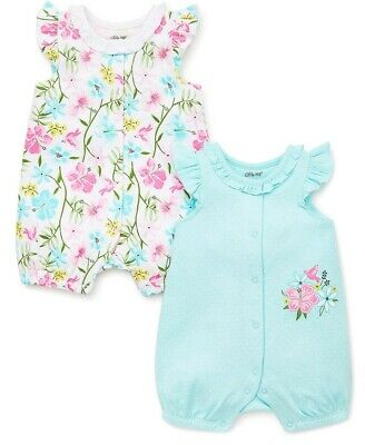 Butterflies Pink//Green Sizes NWT Little Me Baby Girls 2 Pc Romper /& Hat Set