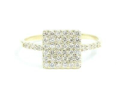 14K Solid Yellow Gold Natural White Diamond Cluster Pave Square Ring EFFECT 2CT