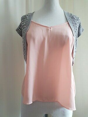 45b096aaffee Ladies Size 12 Oasis Grey With Silver Sequins Bolero Short Cardigan (Av24-4)