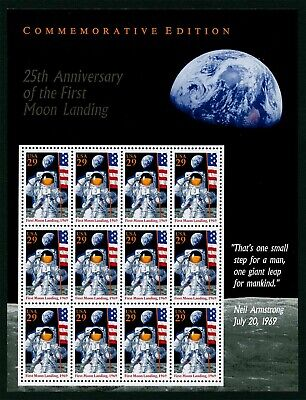 FIRST MOON LANDING ** 1969 APOLLO 11 ** US Postage Anniversary Sheet NASA