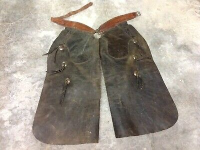 Vintage Leather Western Cowboy Chaps Batwing Pockets Antique FREE SHIPPING!