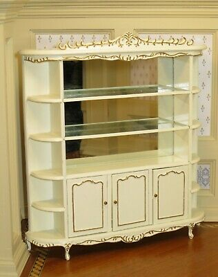 Bespaq Carved Display Case Store Shelving in Ivory w/ Mirror Dollhouse Miniature