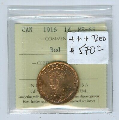 Canada Large Cent 1916, ICCS MS-65 RED..Cat:$570