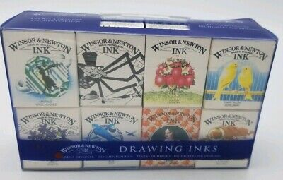 Winsor & Newton Ink Set #1 Of 8 .5 Oz Bottles Craft Drawing Inks NEW IN BOX