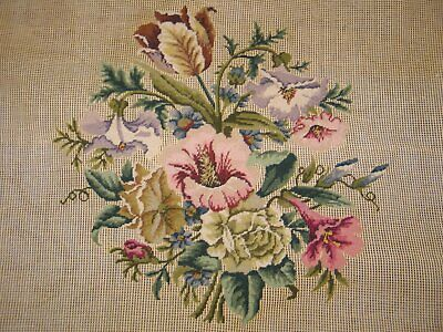 VTG PETIT Point Needlepoint Tapestry-Pre worked Canvas-Tulips Lily-UNUSED-Poman