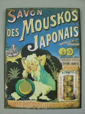 Metal Sign,Advertisement Sign,Japanese Mouskos Soap,Bath Wall Sign 13x9 13/16in
