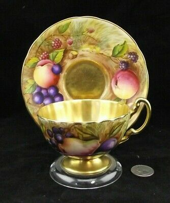 Aynsley Orchard Fruit Signed Cabinet Tea Cup And Saucers