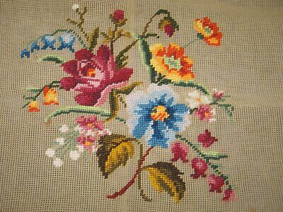 Antique Needlepoint Tapestry-Pre worked Canvas-Floral Bouquet-UNUSED-Label-Chair