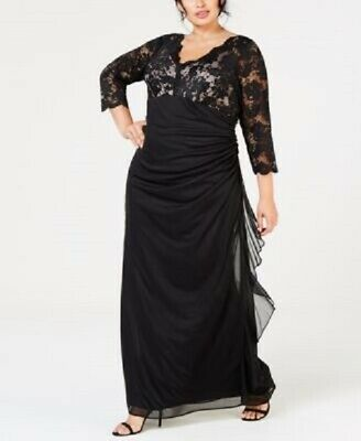 BETSY & ADAM Plus Size Sequined-Lace Ruched Gown $169 Size 18W # 8B ...