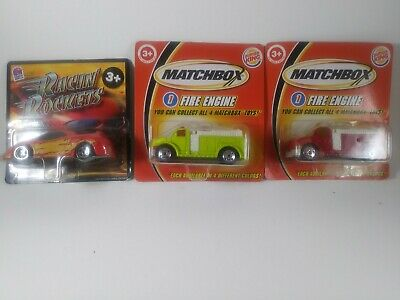 Matchbox Burger King fire trucks 2004 and Strottman Taco Bell car 2002