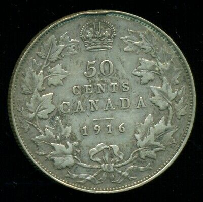 1916 Canada King George V, Silver Fifty Cent Piece  O41
