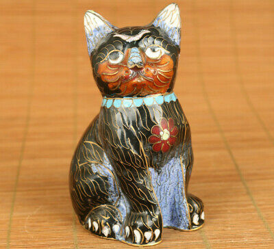 Rare Asian old cloisonne hand painting fortune cat statue figure decoration gift