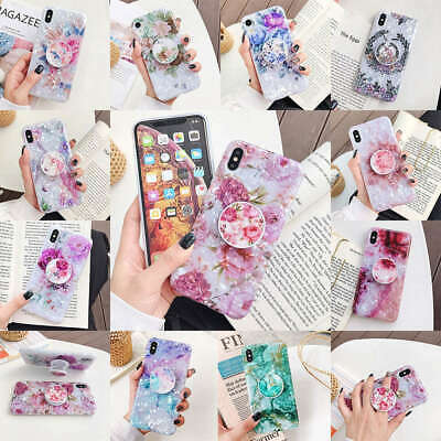 For iPhone XS Max XR 6s 7 8 Plus X Shell Flower Holder Stand Soft TPU Case Cover