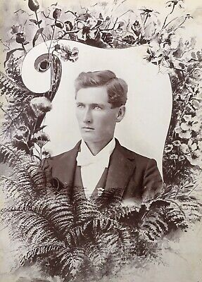 1880's Handsome Young Man Memorial Funeral CABINET CARD PHOTO Parker Indiana