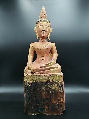 Large Antique 19Th C. Wooden Thai Buddha