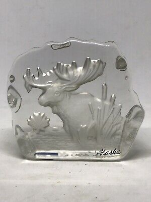 "Tilley Lead Free Crystal Glass Paperweight Alaska Elk. 3""x3"""