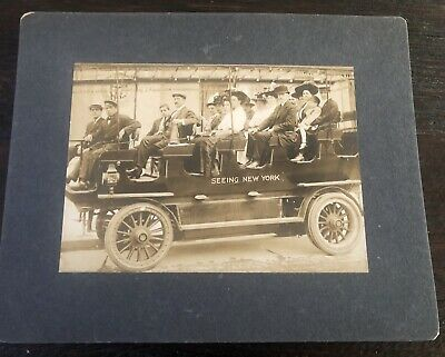 Antique Cabinet Card Photo New York Sight Seeing Trolley Large 5x7