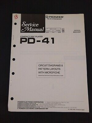 Pioneer Service Manual Circuit Diagrams Microfiche Order No ARZ2297 for PD-41