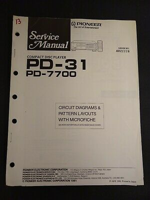 Pioneer Service Manual Circuit Diagrams Microfiche Order ARZ2228 PD-31 PD-7700