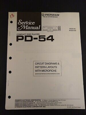 Pioneer Service Manual Circuit Diagrams Microfiche Order No ARZ2730 for PD-54