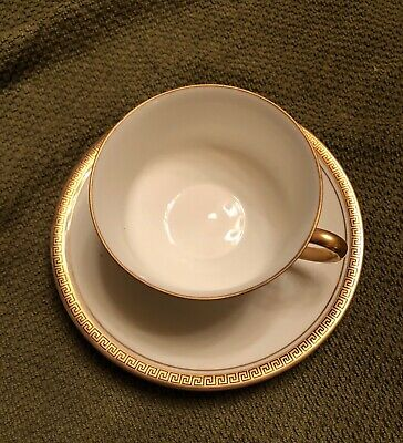 Vintage China MZ Austria Cup and Saucer. White with gold/black trim